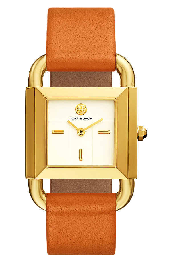 Tory Burch The Phipps Geometric Leather-strap Quartz Watch In Orange/ Ivory/ Gold