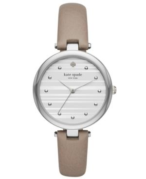 Kate Spade Varick Stainless Steel Grey Leather Watch In Grey/ Silver