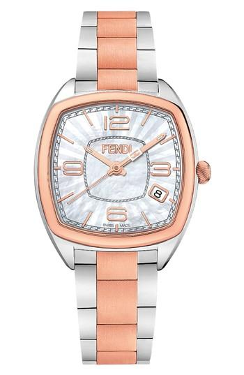 Fendi Momento Square Bracelet Watch, 32mm In Silver/ Mop/ Rose Gold