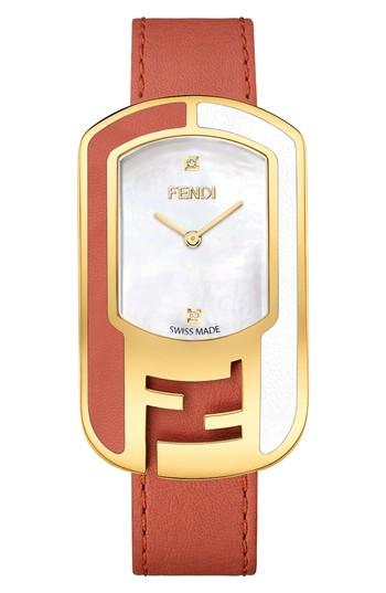 Fendi Chameleon Leather Strap Watch, 29mm X 49mm In Red/ Mop/ Gold