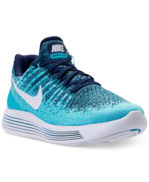 Nike Women's Lunarepic Low Flyknit 2 Running Sneakers From Finish Line In Binary Blue/white/polariz