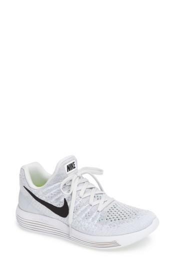 Nike Women's Lunarepic Low Flyknit 2 Running Sneakers From Finish Line In White/ Black/ Platinum/ Grey