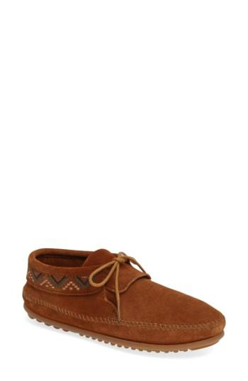 Minnetonka Mosaic Embroidered Moccasin In Brown Suede