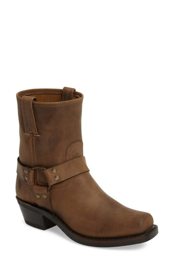 Frye Harness Square Toe Engineer Boot In Tan