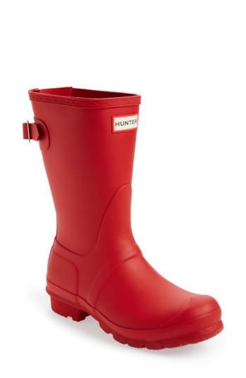 Hunter Original Short Back Adjustable Waterproof Rain Boot In Military Red