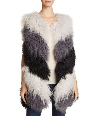 Jocelyn Tibetan Lamb Fur Vest - 100% Exclusive In Gray Multi