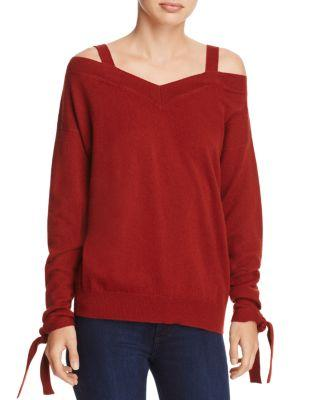 Theory Cold-shoulder Cashmere Sweater - 100% Exclusive In Deep Red Oak