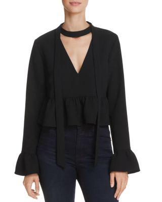 Likely Lettie Choker-collar Peplum Crop Top In Black