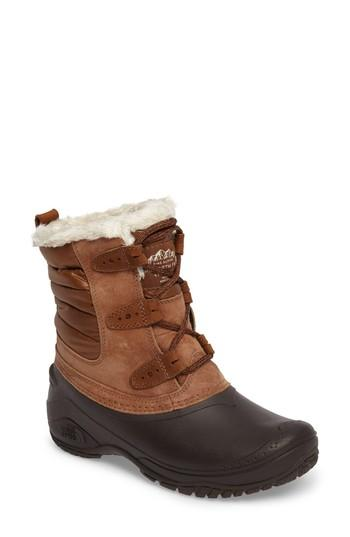 The North Face Shellista Ii Waterproof Boot In Dark Earth Brown/ Storm Blue