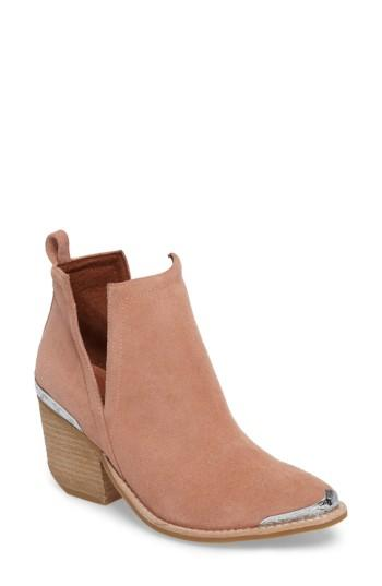 Jeffrey Campbell Cromwell Cutout Western Boot In Blush Suede