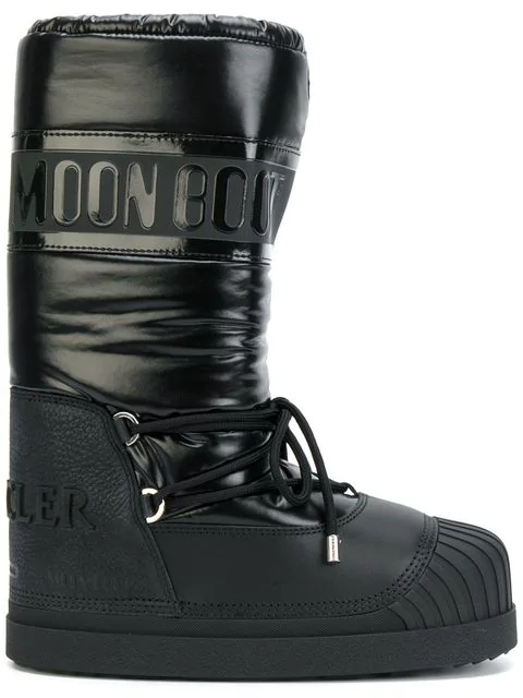 71f8d34e486 Moon Boot Venus Shell And Textured-Leather Snow Boots in Black