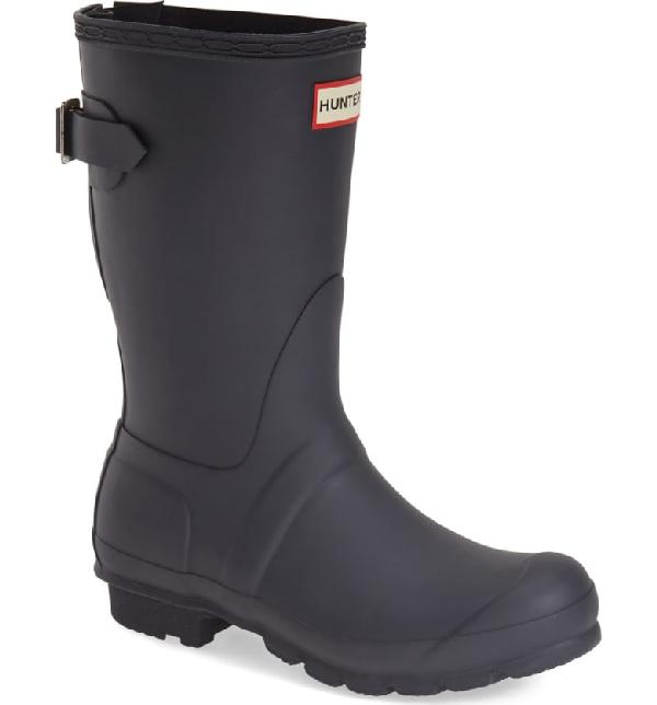 Hunter Original Short Back Adjustable Waterproof Rain Boot In Navy