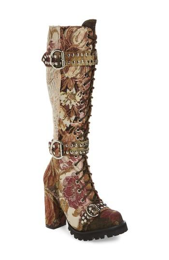Jeffrey Campbell Lilith Tall Boot In Beige-pink-floral