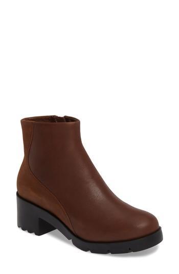 Camper Wanda Platform Boot In Medium Brown Leather