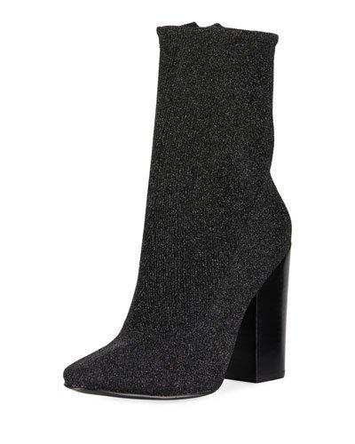 Kendall + Kylie Hailey Glitter Sock Bootie In Black