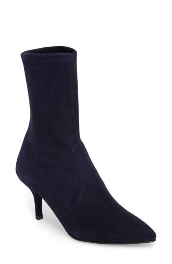Stuart Weitzman Cling Stretch Bootie In Nice Blue Suede