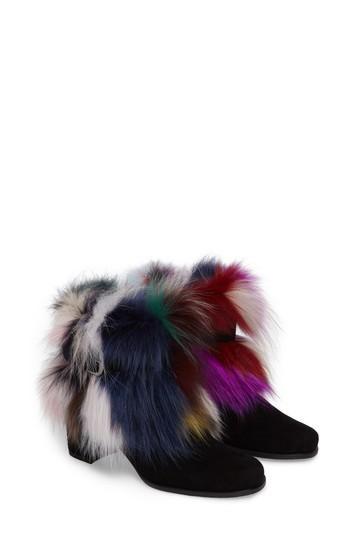 Stuart Weitzman Midgofurit Genuine Fox Fur Bootie In Carnival Furmania