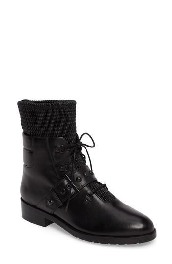 Stuart Weitzman Stitchwork Combat Boot In Black Nappa