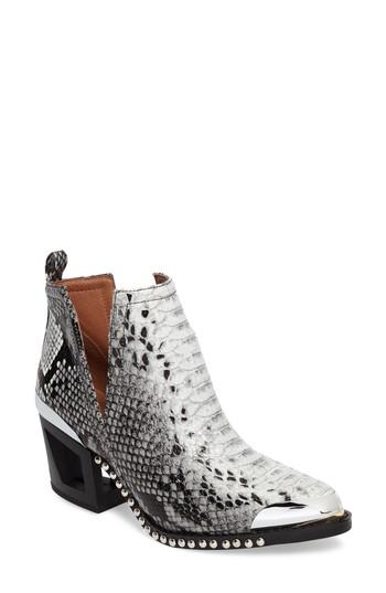 Jeffrey Campbell Optimum Studded Snake Textured Bootie In Black White Snake Black Mt