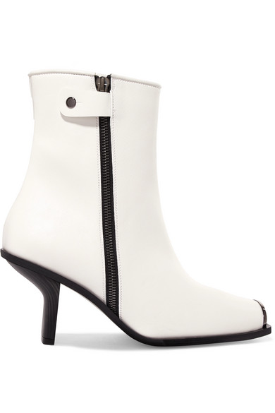 Stella Mccartney Faux Leather Ankle Boots In Tinted White