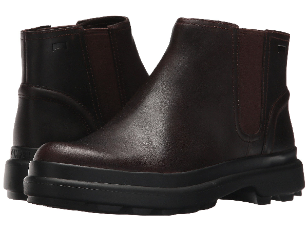 Camper Turtle Lugged Chelsea Boot In Dark Brown