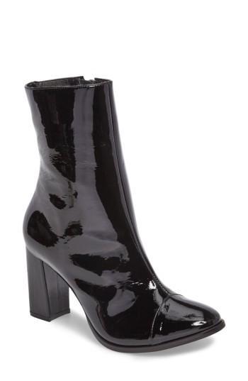 Matisse Florian Cap Toe Bootie In Black Patent Leather