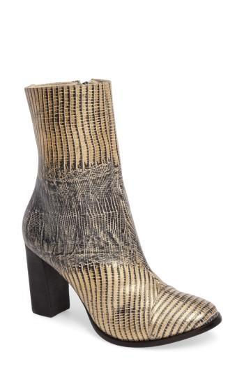 Matisse Florian Cap Toe Bootie In Metallic Snake Leather