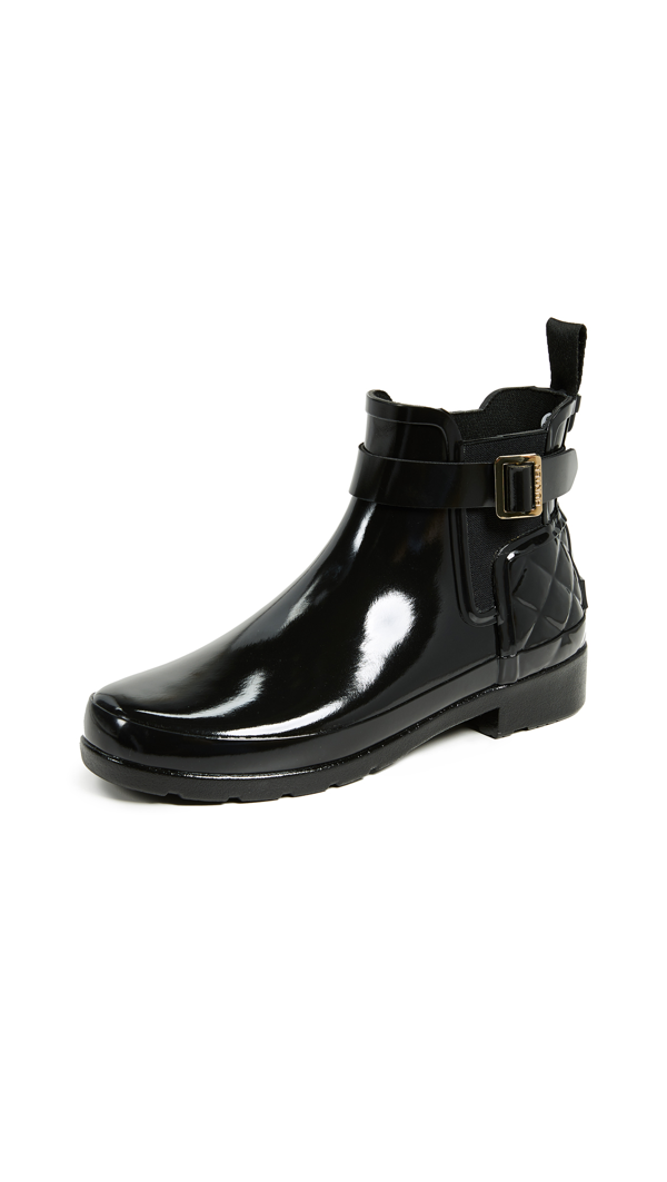 Hunter Original Refined Quilted Gloss Chelsea Waterproof Boot In Black