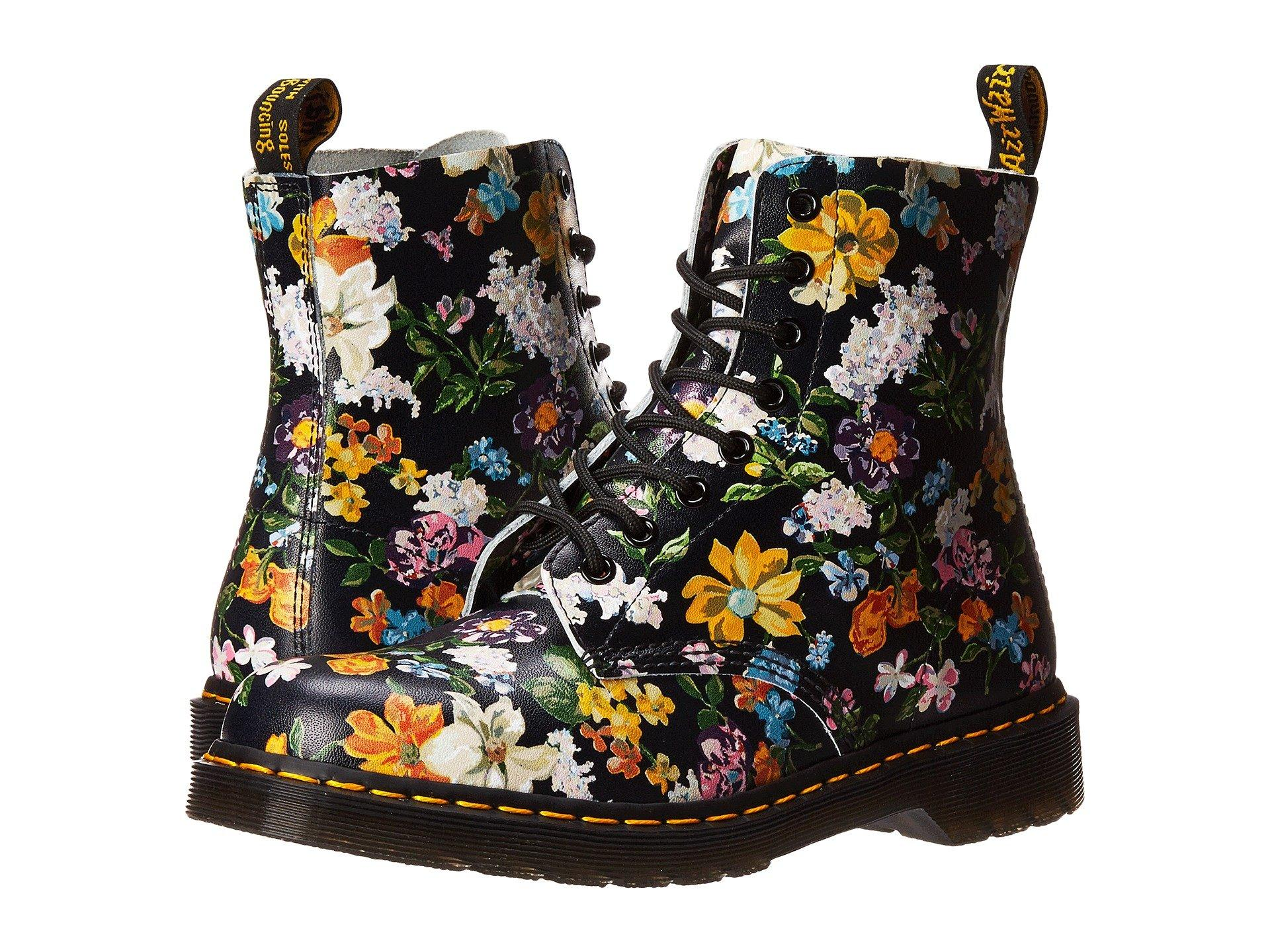 Dr. Martens Pascal Darcy Floral 8-eye Boot, Black Darcy Floral Backhand