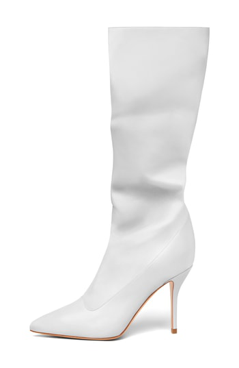 Paul Andrew Ciondolare Slouchy Boot In White Leather