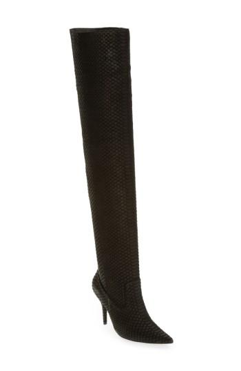 Jeffrey Campbell Galactic Thigh High Boot In Black Matte Snake