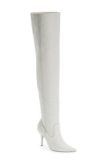 Jeffrey Campbell Galactic Thigh High Boot In White Matte Snake