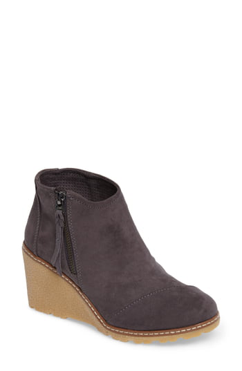 Toms Avery Wedge Bootie In Forged Iron Microfiber