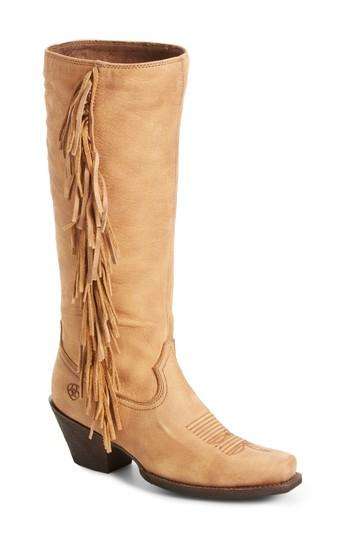 Ariat Leyton Fringe Western Boot In Tack Room Honey Leather