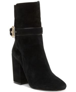 Vince Camuto Damefaris Block-heel Buckle Booties Women's Shoes In Black