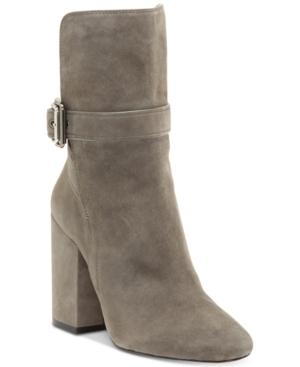 Vince Camuto Damefaris Block-heel Buckle Booties Women's Shoes In Greystone