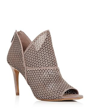 Vince Camuto Women's Vatena Perforated Nubuck Leather High Heel Booties In Mesa Taupe Nubuck Leather