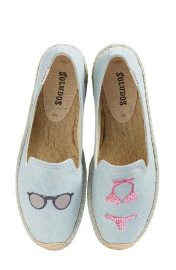Soludos Embroidered Flat In Chambray