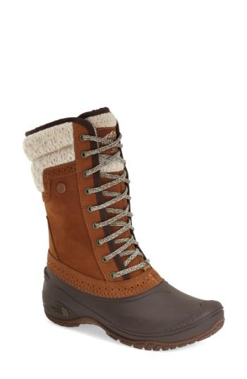 The North Face Shellista Waterproof Insulated Snow Boot In Brown/ Dachshund Brown