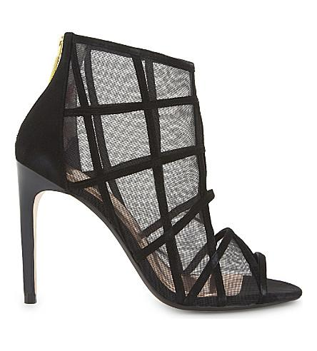 Ted Baker Xstal Mesh Peep-toe Boots In Black Suede