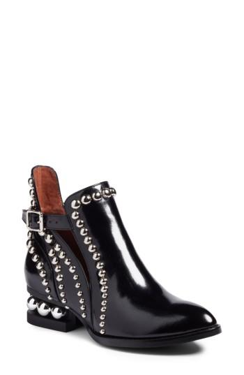 Jeffrey Campbell Rylance Studded Bootie In Black Box Silver Leather