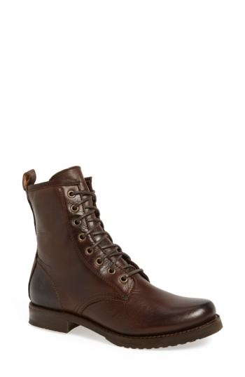 Frye 'veronica Combat' Boot In Dark Brown Leather