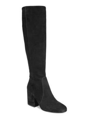 ce93d3a3d Sam Edelman Women s Thora Suede Tall Block Heel Boots In Black Leather