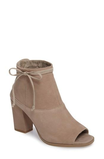 Seychelles Triple Threat Open Toe Bootie In Taupe