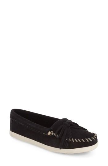 Minnetonka 'newport Kilty' Moccasin Flat In Black Suede