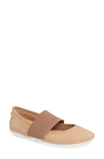 Camper 'right Nina' Leather Ballerina Flat In Nude Leather