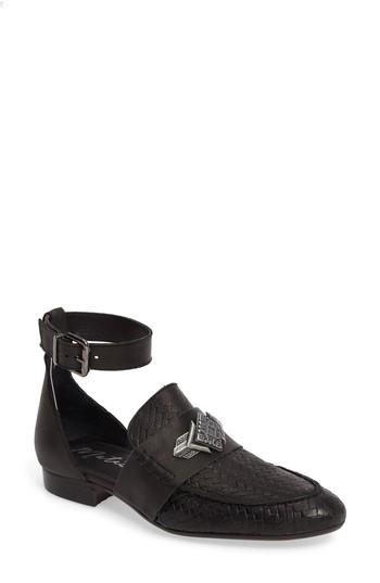 Matisse Norton Woven D'orsay Flat In Black Leather