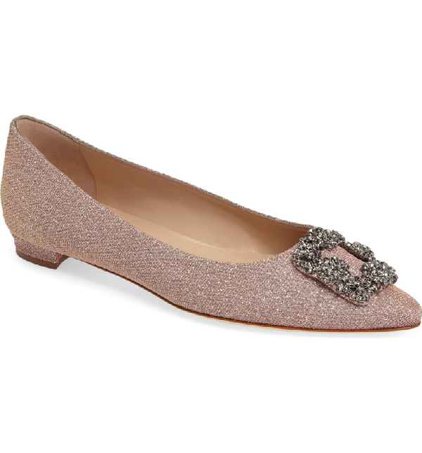 Manolo Blahnik 'hangisi' Jeweled Pointy Toe Flat In Champagne Fabric