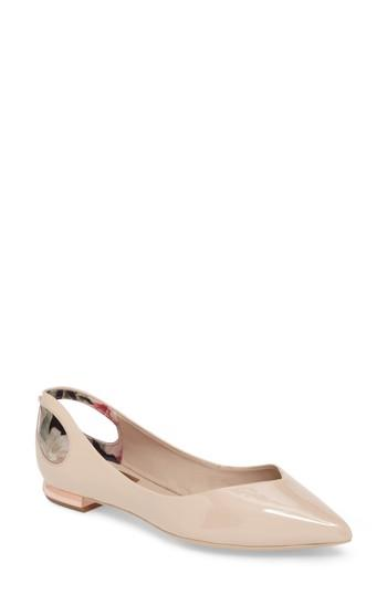 Ted Baker Dabih Cutout Pointy Toe Flat In Nude Patent Leather