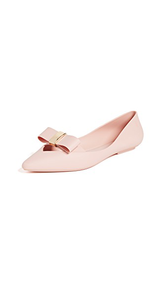 Melissa Maisie Ii Bow Pointy Toe Flat In Pink